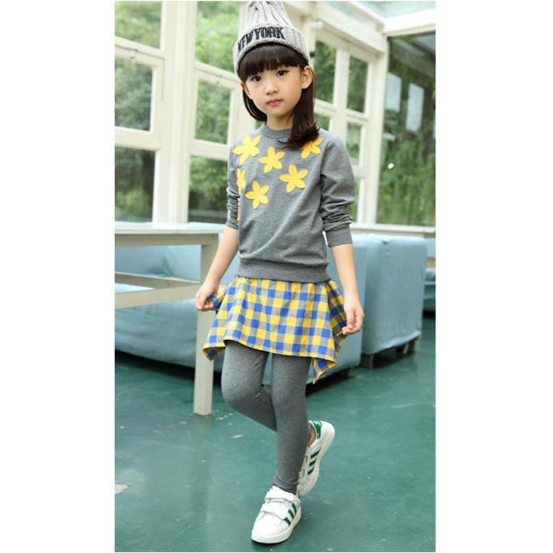 Girls Clothes 2016 European Girls Suit For Children Autumn Big Children Starfish Two Sets Of