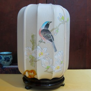 Modern chinese style hand painting classical table lamp silk fabric bed living room lamp - -(China (Mainland))