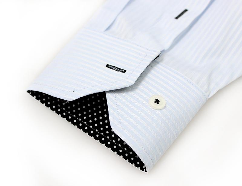 Men Blue Stripe Black Dots Printing Button Down Collar Dress Shirt Long Sleeves Formal Business Office Working Shirt 14(China (Mainland))