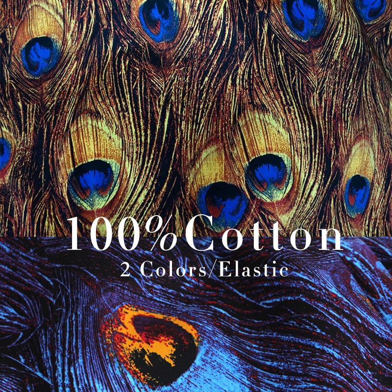 LEO&LIN Retro Peacock feathers Printed yellow/Blue micro elastic satin exclusive Patchwork Cotton Fabric tissus (1 meter) 50%OFF(China (Mainland))