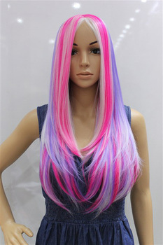 Capless Long High Quality Pink White Purple Multiple Color Synthetic  Wig