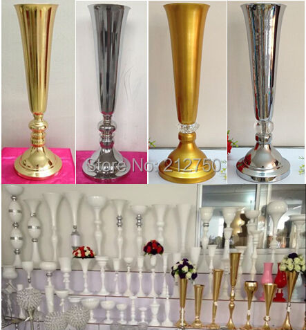 Express Free Shipping Wholesale Wedding Supplies Gold Silver Trumpet Wedding Decoration Table
