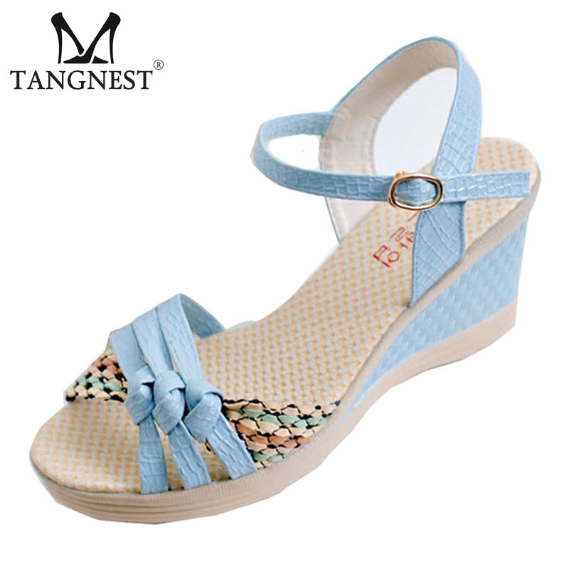 2015 Summer New Sweet Women Sandals .Korean Buckle Flat Slope With Open-toed High-heeled Women  Sandals  4 colors  XWZ924 <br><br>Aliexpress
