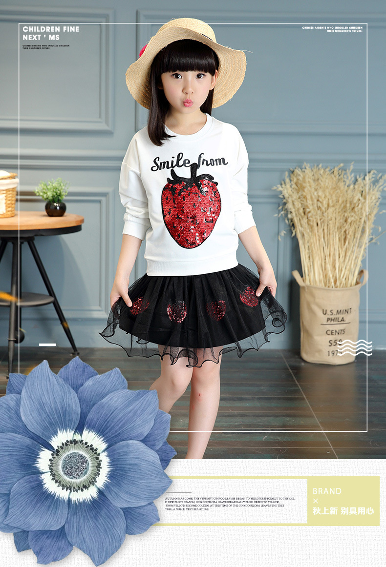 2Pcs Fashion Children Kids Girls Sets Clothes Strawberry Print T-Shirts + Skrit  Toddler Girls Clothes Sets Clothes for 10 Year