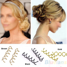 10 pcs 1set Spiral Spin Screw Pin Hair Clip Twist Barrette / Gold Brown Black  1HM8(China (Mainland))