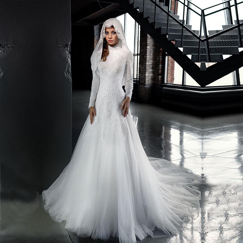 Мода арабский высокая шея кружева с длинным рукавом мусульманская страна свадебные платья 2016 Vestido Novia свадебные платья мантия де свадебная