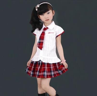free shipping White shirt red plaid paragraph gentlewomen student school Scotland uniform customize kilt female child set(China (Mainland))
