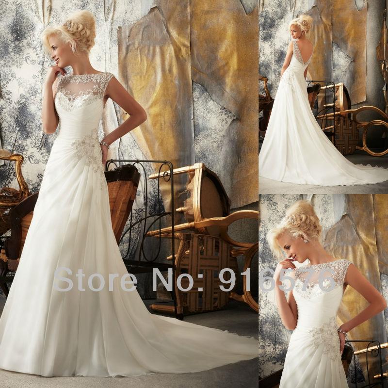 Trail bridal dress design bateau applique crystal pleat gown online