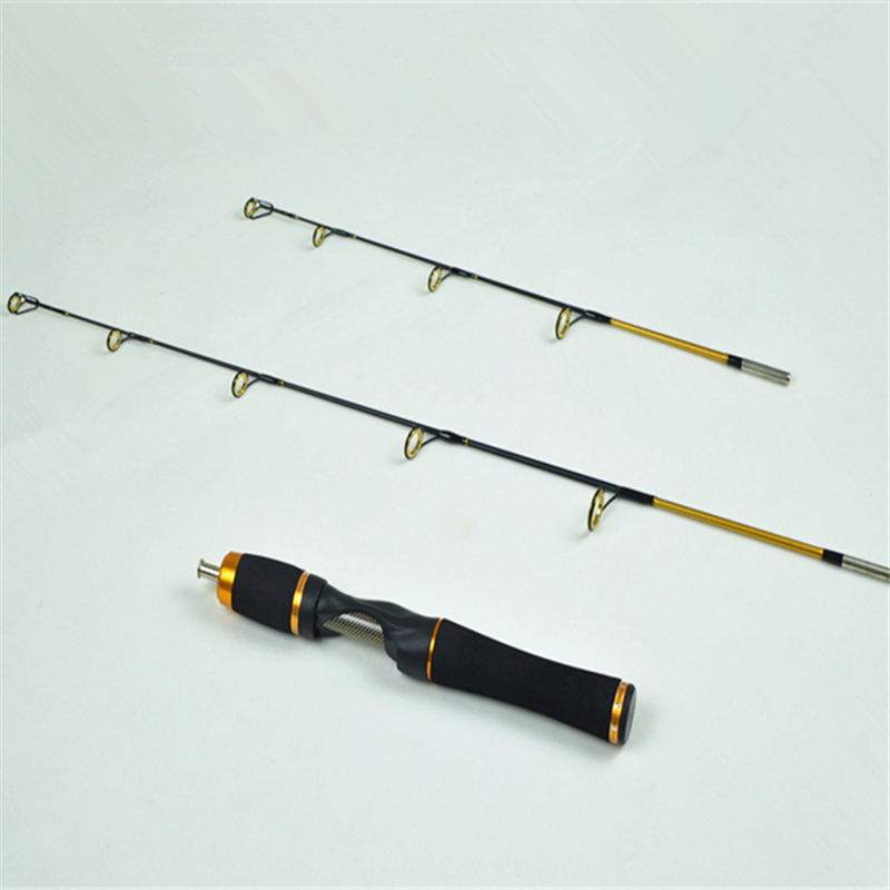 Spinning fishing rod carbon ice rod with a handle two rod tip 58.5 cm to 78.5 cm boat rod(China (Mainland))