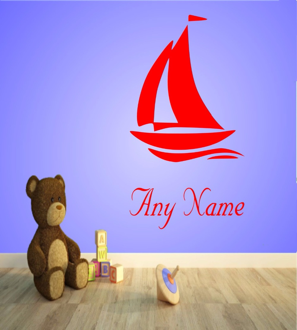 Personalised Sailboat Vinyl Wall Sticker Any Name Kids Bedroom Art Decal Gift 2 sizes