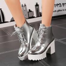 2016 British Style Women Shoes Lacing Platform Women Pumps Thick Heel High Heels Single Shoes Plus Size 35-44 Free Shipping(China (Mainland))