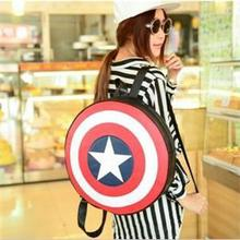 New 2015 Fashion Casual Lover Backpack Round Captain America The Five-pointed Star PU Leather Backpack Free Shipping(China (Mainland))