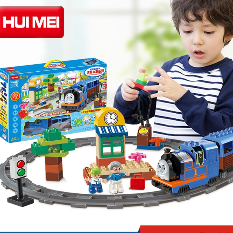 Kids Toys Building Blocks Assembled toy Minifigures large particles blocks bricks Electric Thomas train block 48 PCS