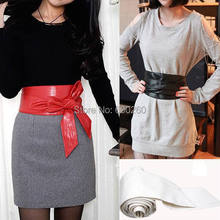 Hot sales Lady Bowknot Belt Bind Wide Belt 3 Colors Soft Faux Leather Waistband Waist Belt(China (Mainland))