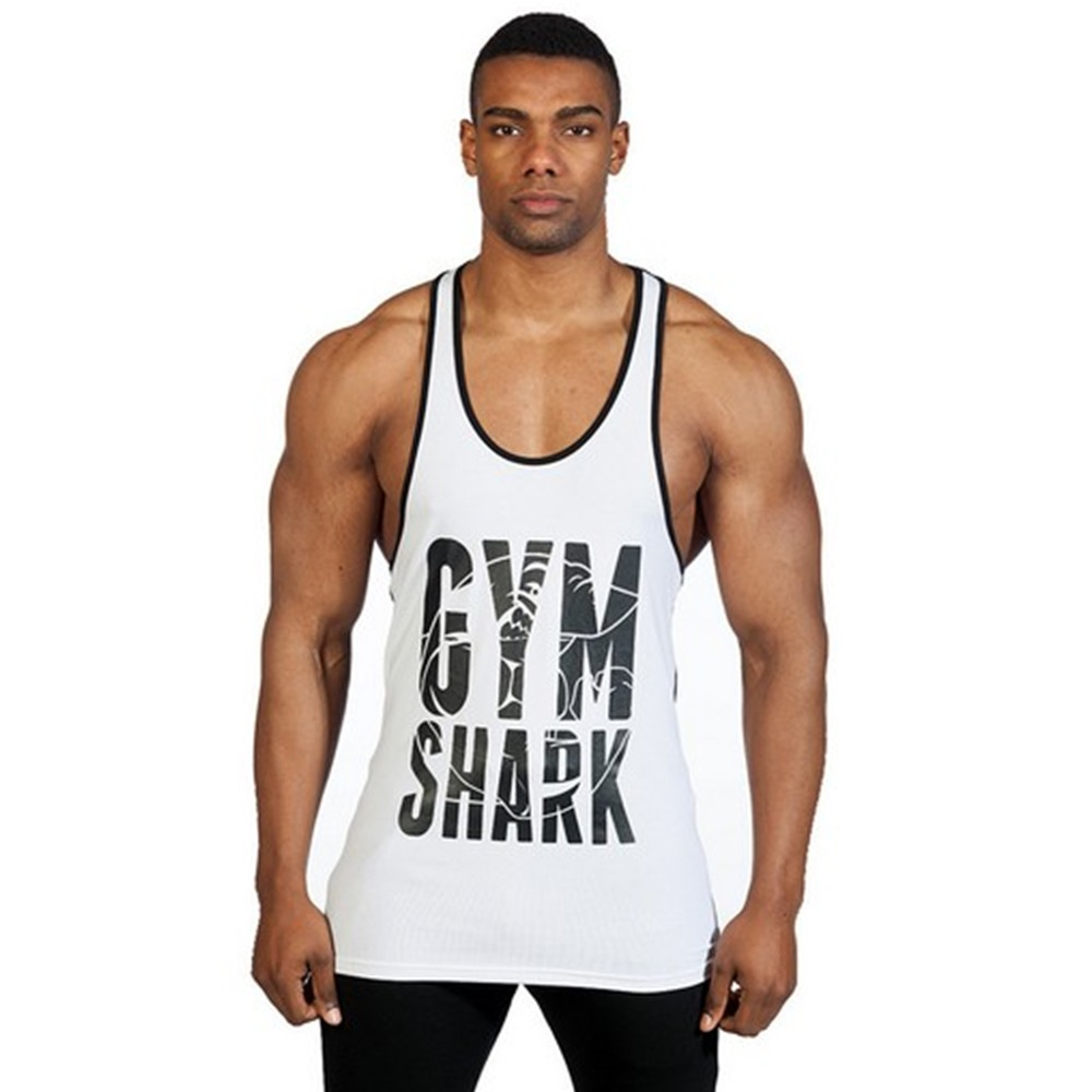 New brand gym shark mens cotton tank tops shirts Fitness shirts for men