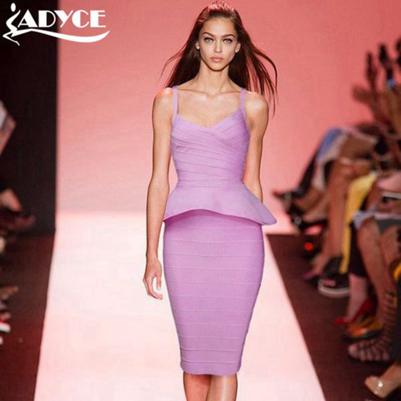 New free shipping solid ruffles sleeveless straps V-neck knitted bandage dress cocktail party prom dinner dance bandagem dresses от Aliexpress INT