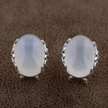Buy Natural white chalcedony Earring 925 Silver Women Vintage Classic S925 Thai Sterling Silver boucle d'oreille Stud Earrings for $33.75 in AliExpress store