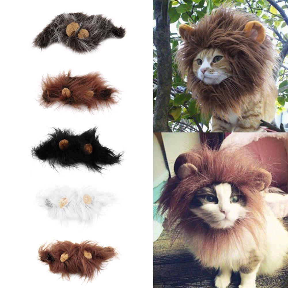 Pet Cat Dog Emulation Lion Hair Mane Ears Head Cap Autumn Winter Dress Up Costume Muffler