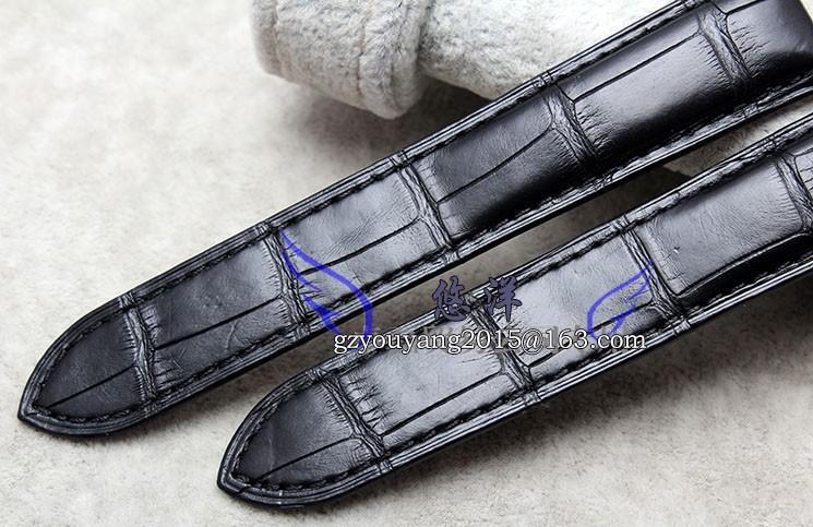 Ремешок из кожи аллигатора для мужской 18 | 20 мм черно-серии