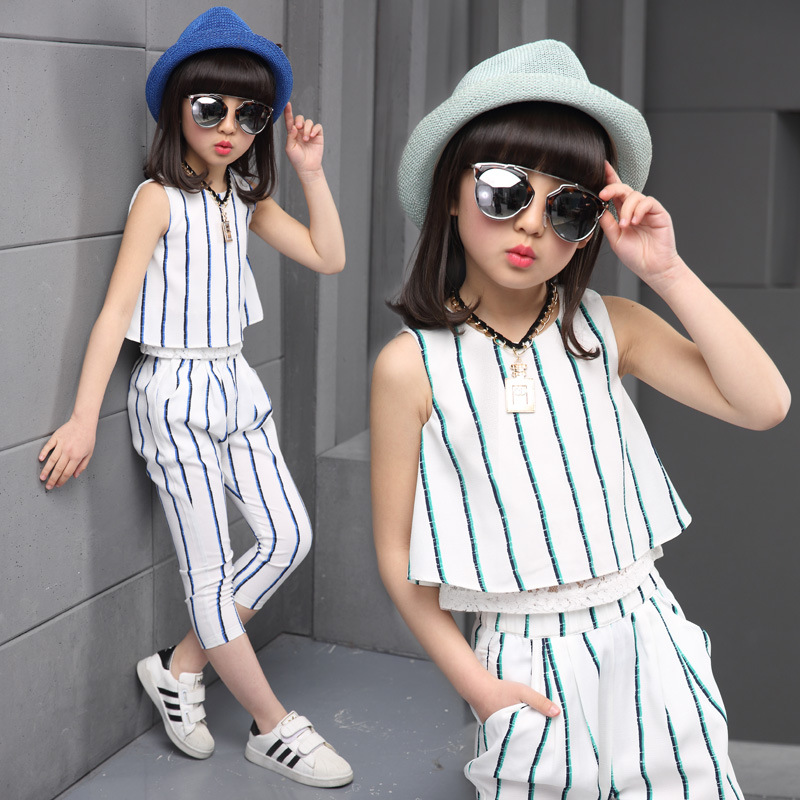 Girls clothing sets 2017 summer fashion striped vest T-shirt pants two pieces kids tracksuit children clothing set kids clothes(China (Mainland))