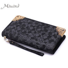 Buy 2016 Luxury Vintage Brand Women Stone Leather Long Slim Wallet Female Wristlet Clutch Bag Purse Coin Card Holder Thin Portomonee for $7.44 in AliExpress store