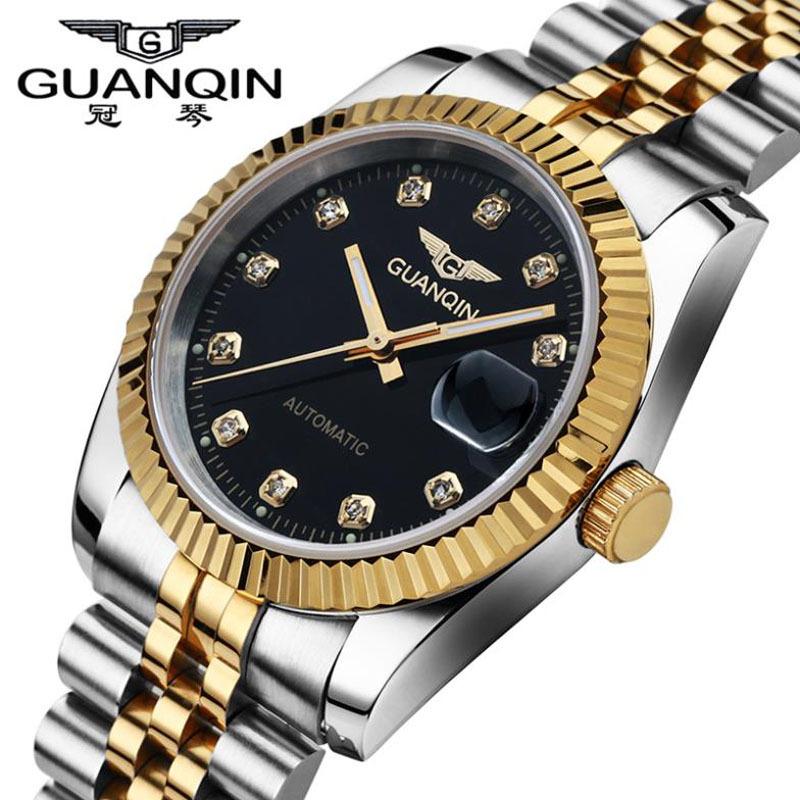 Здесь можно купить  Men Watches 2016 GUANQIN Brand Waterproof Automatic Mechanical Watch Men Gold Cutout Table  Diamond Luxury Brand Wristwatches  Ювелирные изделия и часы