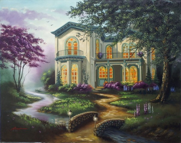 Frameless DIY oil painting numbers house fashion 40 50 acrylic unique gift home decor - Dafen Artwork Co., Ltd store