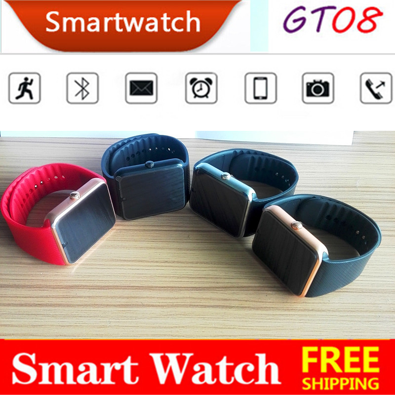 2016 Latest Version Multi language Smart Watch GT08 Clock Sync Notifier Bluetooth sim Connectivity iOS Android Phone Smartwatch(China (Mainland))