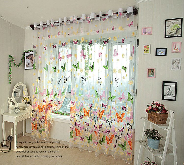 Cortinas Para Sala Rideau Rustic Romantic Window Screening Butterfly Design Customize Panel Finished Product Curtain Tulle For(China (Mainland))