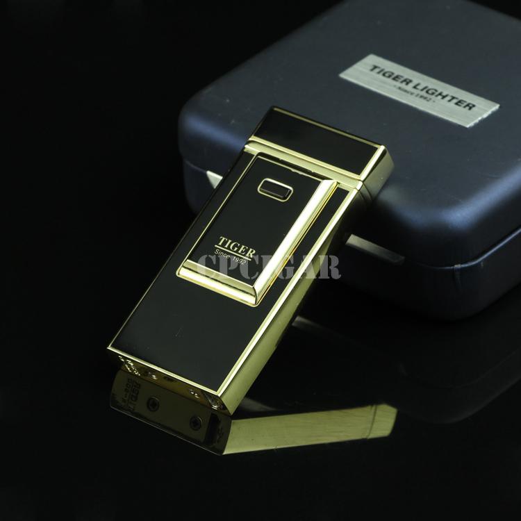 Тигр Ветрозащитный низкий-углерода электродуговой USB для зарядки сигареты Лихтера сигары Ультра-тонких металлических деловой стиль аккумуляторная Зажигалка