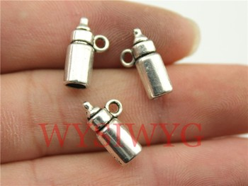 WYSIWYG 6pcs 15*5*5mm antique silver baby Feeding bottle charms