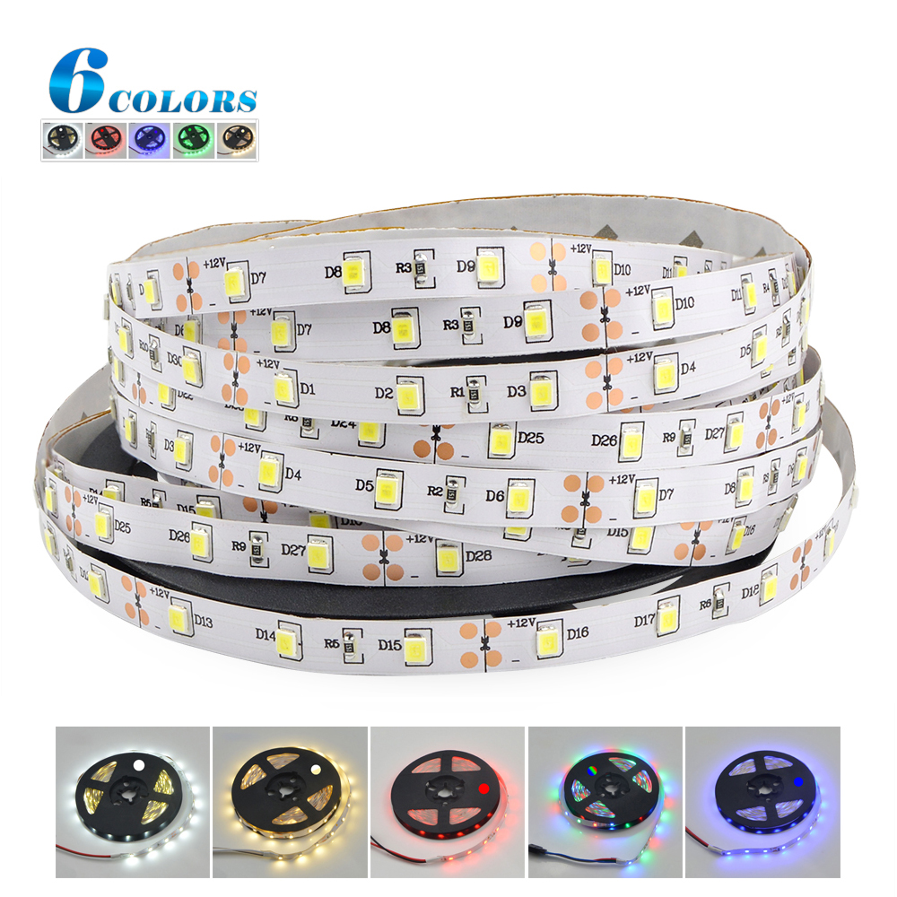 LED strip light 5M SMD 2835 DC12V 60 LED/M flexible Rope Non-waterproof indoor decortion string light More than 3528 5630 lamp(China (Mainland))