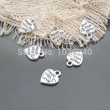 Lot 50 Silver MADE WITH LOVE CZ Heart Charms Pendants Necklace Beads DIY Set(China (Mainland))