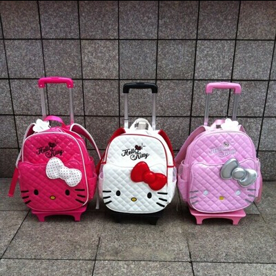 New Hello Kitty Bag Trolley Bag Backpack Female School Bags Mochila Infantil Escolar kids Students Trolley Bags For Girls