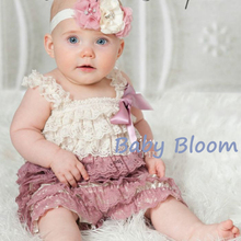 Dusty Ivory Rose Lace Petti Romper with Straps Sleeves Free Shipping 54 Colors in Stock(China (Mainland))