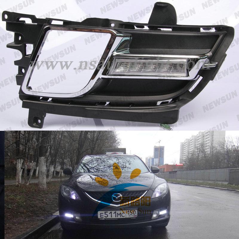 Super White 6 LED Car Light Daytime Running Auto Lamp, 12V mazda 6 led DRL daytime running light Auxiliary Light In The Day