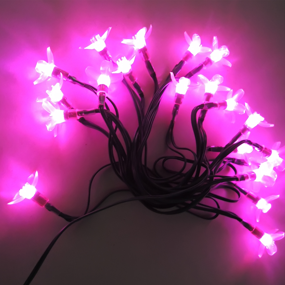 2016 New Style Beautiful Warm Pink Solar Power 20 LED Cherry Shape String Light Outdoor For Christmas Party Purple Pink Light(China (Mainland))