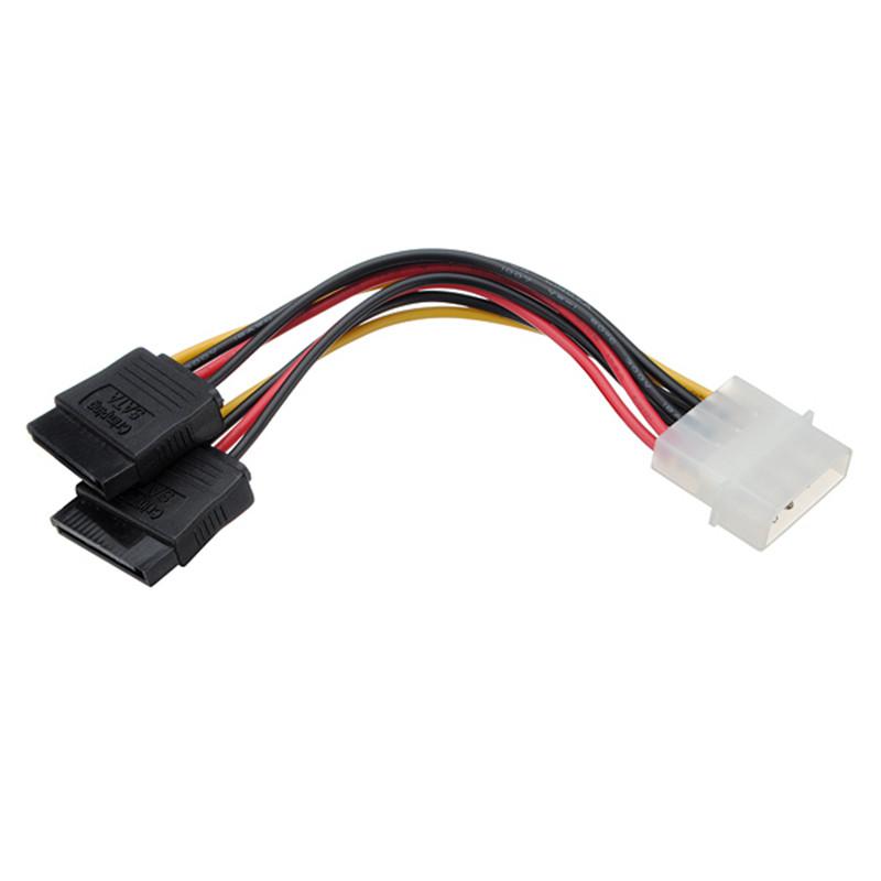 5 pcs/lot Molex HDD Power Cable Serial ATA SATA 4 Pin IDE Molex to 2 of 15 Pin HDD Power Adapter Cable(China (Mainland))