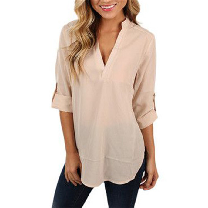 New Arrived Formal Women Tops Generous V Neck Three Quarter Sleeve Solid Office Long Style Women ...