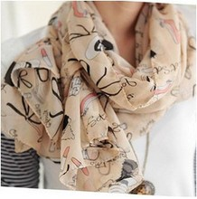 New Fashion Accessories Lipstick Heels Printing shawl scarves for women girl ladie's wholesale  XY-C5(China (Mainland))