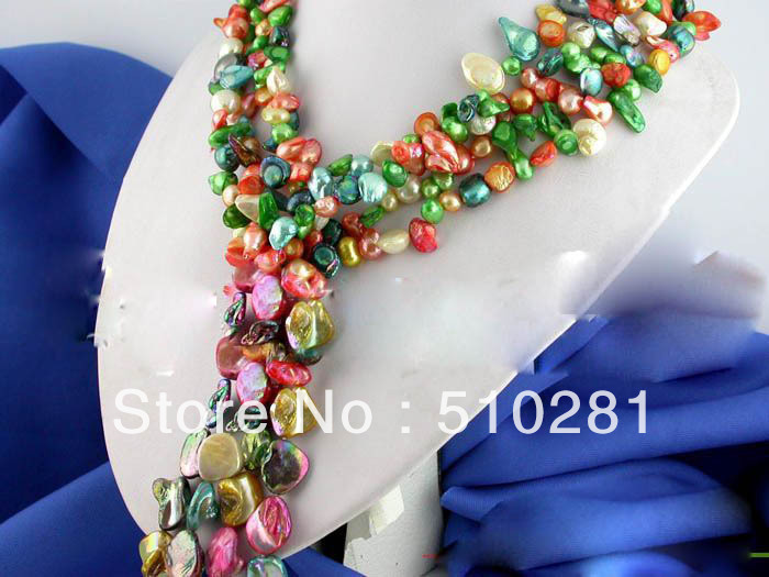 MOON STORE GOOD NECKLACE ON DISCOUNT SALE :2013 5.01 PER ONE PER 2item 50l multicoloured baroque freshwater pearl shell(China (Mainland))