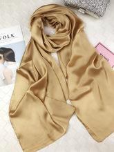 2018New весна осень женские люксовые шарфы сплошной цвет шелковый шарф плюс размер 180 см * 90 см шелковый платок хиджаб шарф 15 цветов(China)