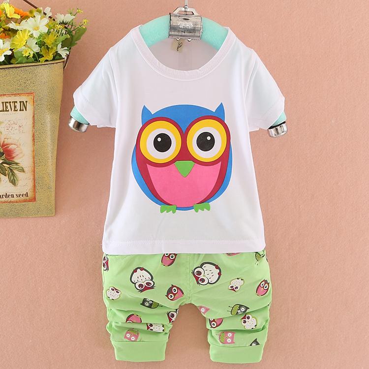 ON sale summer baby boy girl Cartoon Owl clothes 6M - 2 years old bebe clothing set with t shirt pants menino pantalones cagados(China (Mainland))
