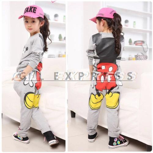 2015 Baby Girls Kids Tops Hoodies+Pants Sportwear Tracksuit Outfits(China (Mainland))
