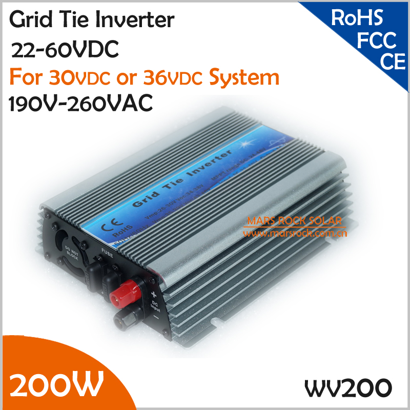 200W 22V-60VDC 190-260VAC Grid Tie Micro Inverter for 30V or 36V Solar or Wind Small Power System(China (Mainland))
