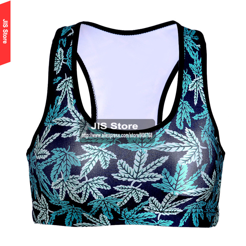 Summer Hot Women Padded Top Athletic Bra Gym Fitness Sports Bra Stretch Workout Bustier Crop Top Sports 3D Leaves Printing Bra(Hong Kong)