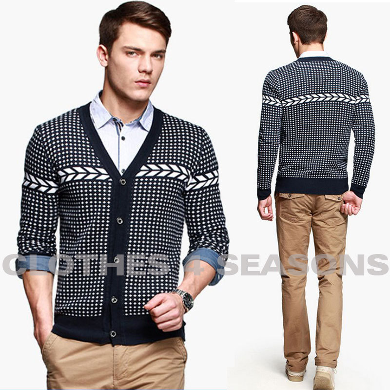 HOT!!! Menu0026#39;s fashion cardigan sweater autumn v neck sweater casual knitted sweater Men-in ...