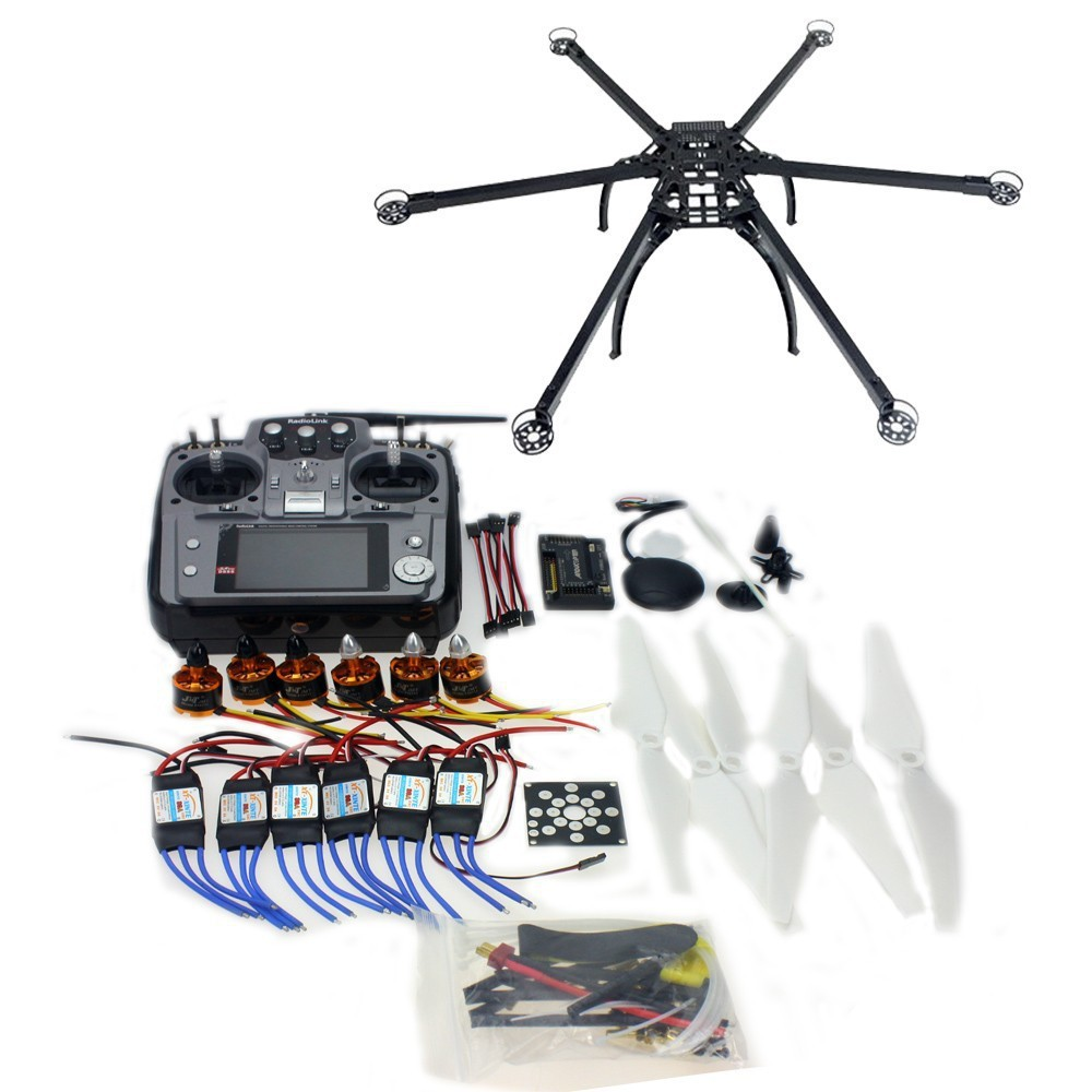 Six axis hexacopter gps drone kit with ch tx rx apm