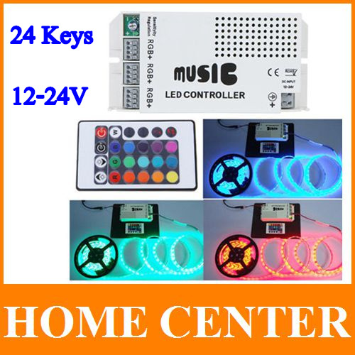 12-24V 24 Keys Wireless IR Remote Control LED Music Sound Control RGB led Controller Dimmer for RGB LED Strips(China (Mainland))