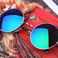 2016 Hot Vintage Round Sunglasses Brand Designer UV400 Shades Coating Mirror Lens Metal Frame Retro Sun
